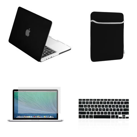 "TOP CASE 4 in 1 – Macbook Retina 13"" Rubberized Case + Sleeve + Keyboard Skin + LCD - Black"