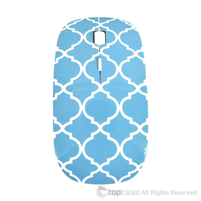 Quatrefoil / Moroccan Trellis Series Blue USB Optical Wireless Mouse for Macbook (pro , air) and All Laptop