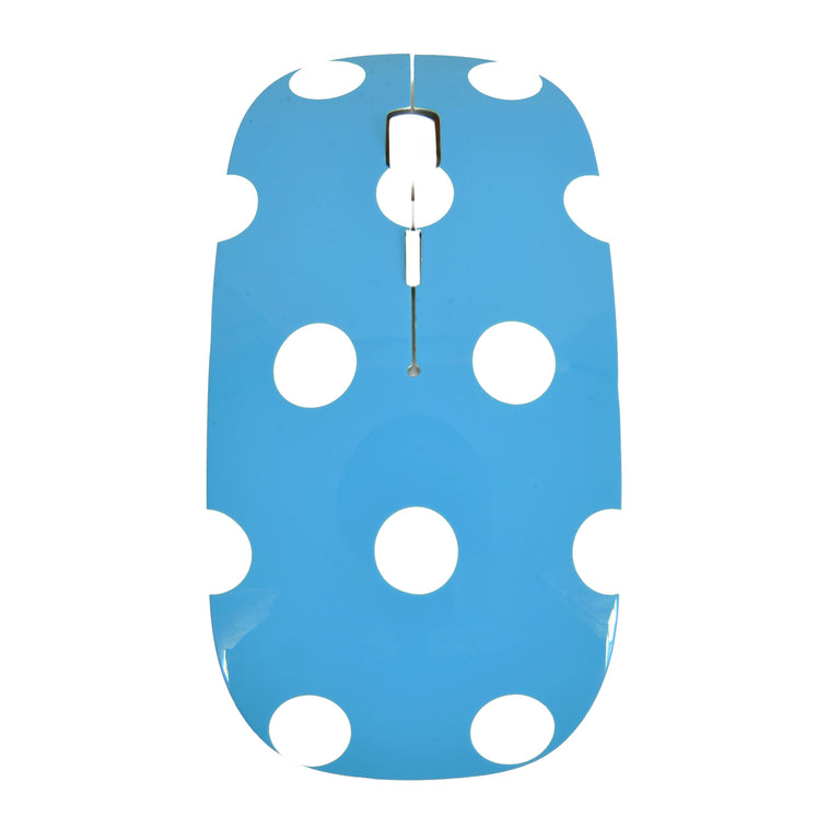 Polka Dot Design Blue USB Optical Wireless Mouse for Macbook (pro , air) and All Laptop