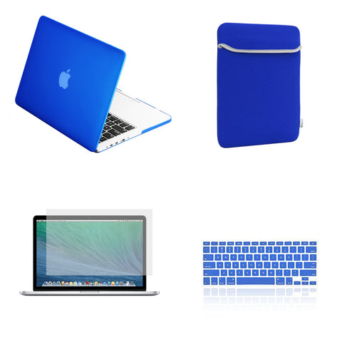 "TOP CASE 4 in 1 – Macbook Retina 13"" Rubberized Case + Sleeve + Keyboard Skin + LCD - Royal Blue"
