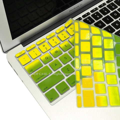 "Yellow & Green Faded Ombre keyboard Cover Silicone Skin for Macbook Air 11"" 11-inch"