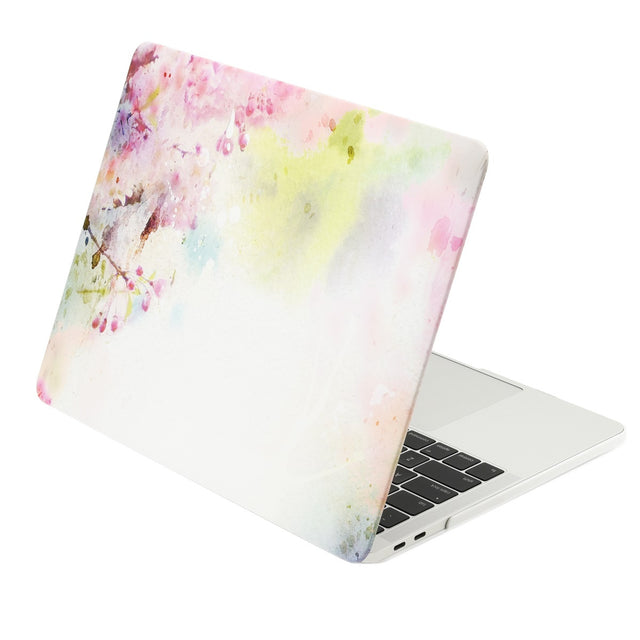 TOP CASE - Floral Pattern Graphics Rubberized Hard Case Cover for MacBook Pro 15-inch A1707 / A1990 with Touch Bar( Release 2016/17/18 ) - Cherry Blossom