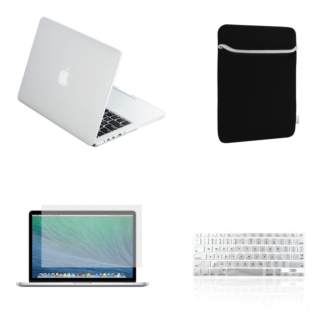 "TOP CASE 4 in 1 – Macbook Retina 15"" Rubberized Case + Sleeve + Keyboard Skin + LCD - Clear"