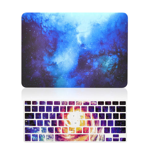 "TOP CASE 2 in 1 - MacBook Air 13"" Galaxy Rubberized Hard Case + Galaxy Keyboard Cover - BLUE"