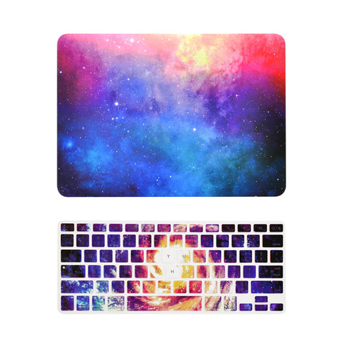 "TOP CASE 2 in 1 - MacBook Air 13"" Galaxy Rubberized Hard Case + Galaxy Keyboard Cover - PINK"