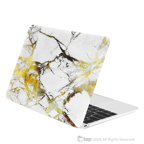 "White/Gold Marble Rubberized Hard Case for Macbook 12"" with Retina Display Model A1534"