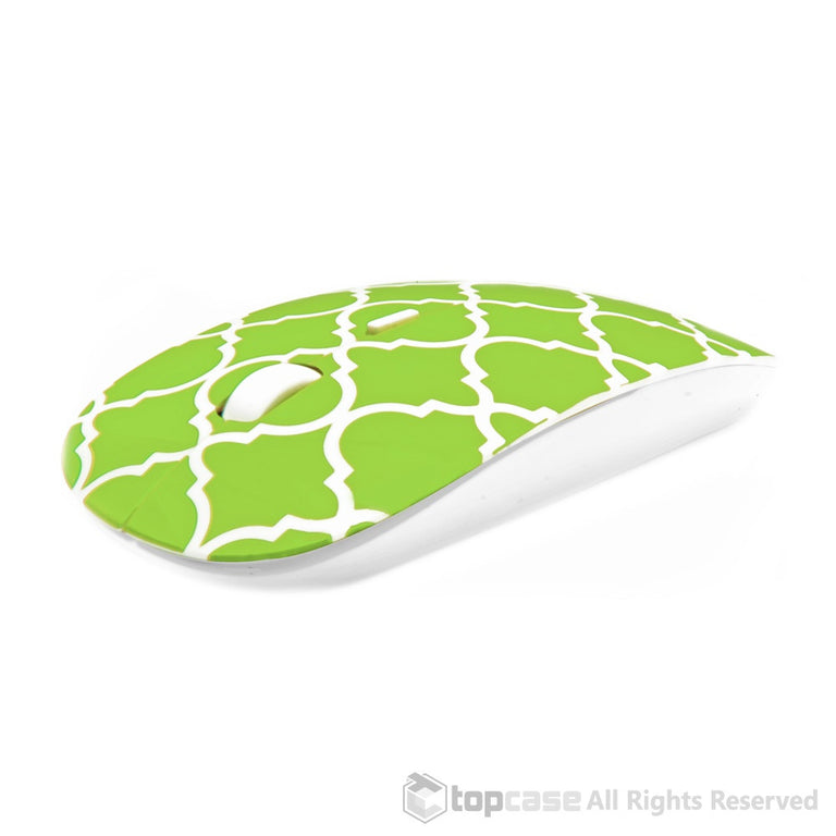 Quatrefoil / Moroccan Trellis Series Green USB Optical Wireless Mouse for Macbook (pro , air) and All Laptop