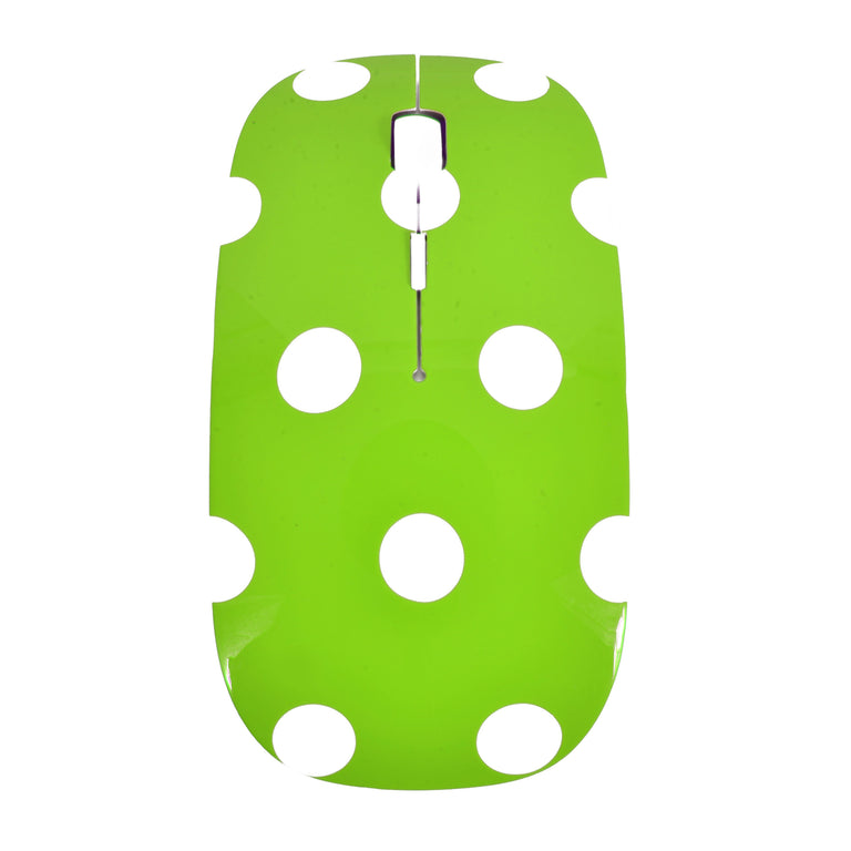 Polka Dot Design Green USB Optical Wireless Mouse for Macbook (pro , air) and All Laptop - TOP CASE
