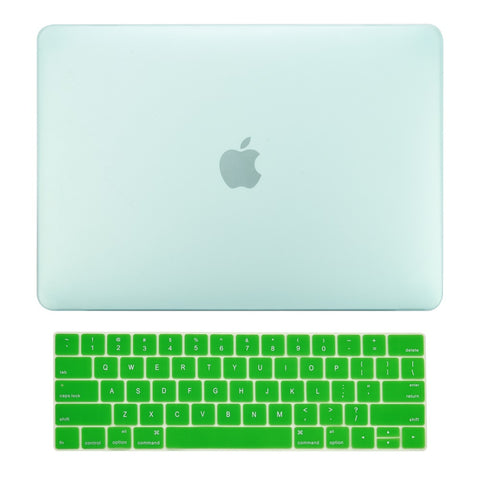 2016 Macbook Pro 15 Case 2 in 1 Bundle, Rubberized Matte Hard Case Cover + Matching Color Keyboard Cover for MacBook Pro 15-inch A1707 with Touch Bar ( Release Oct 2016 ) - Green