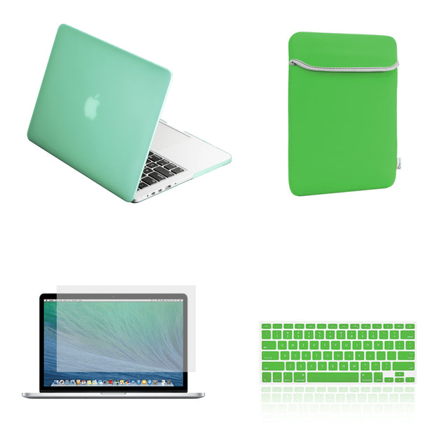 "TOP CASE 4 in 1 – Macbook Retina 15"" Rubberized Case + Sleeve + Keyboard Skin + LCD - Green"