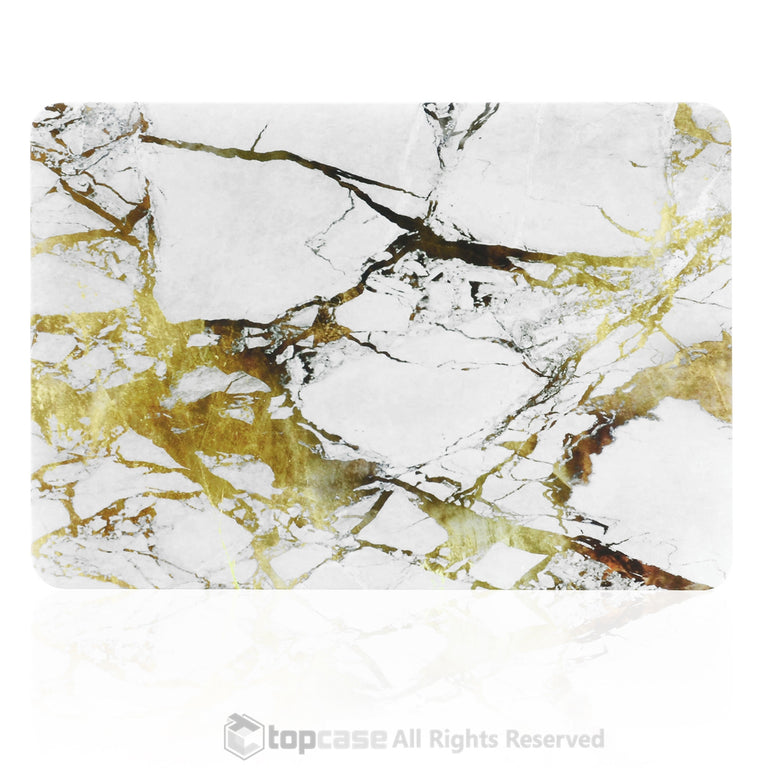 White/Gold Marble Rubberized Hard Case for MacBook Pro 13""