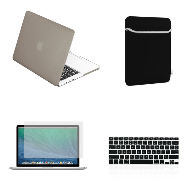 "TOP CASE 4 in 1 – Macbook Retina 15"" Rubberized Case + Sleeve + Keyboard Skin + LCD -Gray"