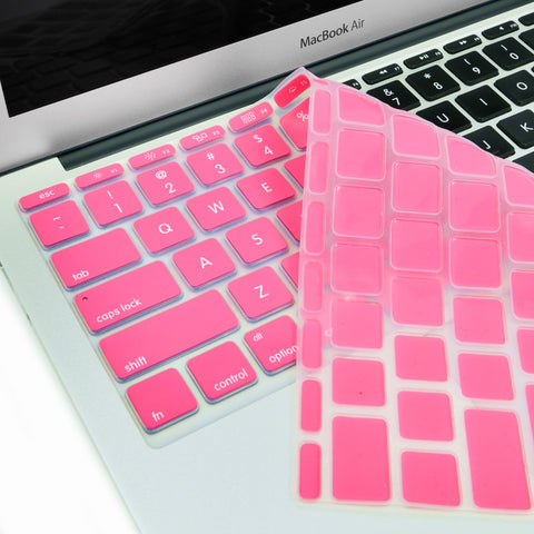 "Hot Pink Keyboard Silicone Cover Skin for New Macbook Air 11"" Model: A1465 - TOP CASE"