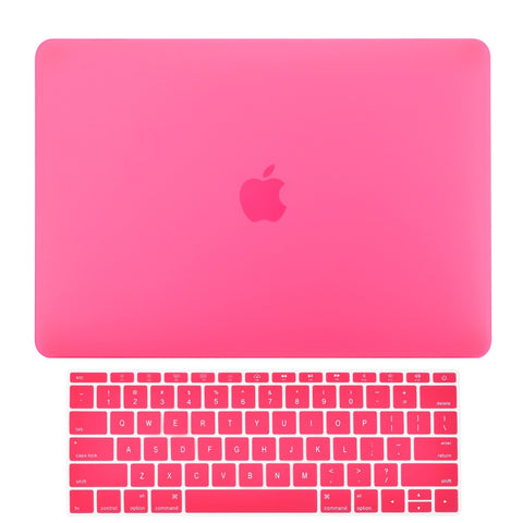 Macbook Pro 13 WITHOUT Touch Bar (2016 Release) 2 in 1 Bundle, Rubberized Matte Hard Case Cover + Matching Color Keyboard Cover for MacBook Pro 13-inch A1708 without Touch Bar - Hot Pink