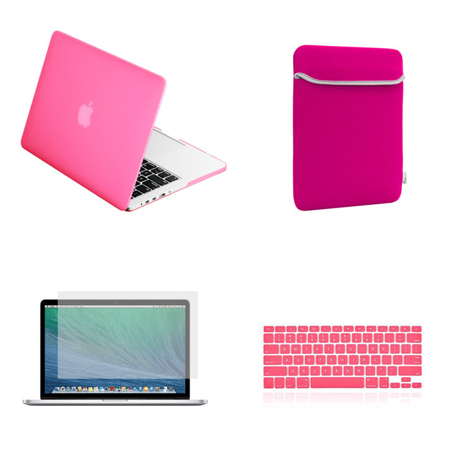 "TOP CASE 4 in 1 – Macbook Retina 15"" Rubberized Case + Sleeve + Keyboard Skin + LCD - Hot Pink"