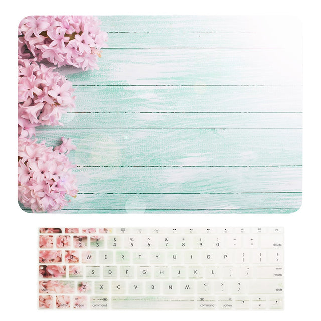 "Macbook Pro 13 WITHOUT Touch Bar (2016 Release) 2 in 1 Bundle, Floral Pattern Matte Hard Case + Keyboard Cover for MacBook Pro 13"" (13"" Diagonally) A1708 without Touch Bar - Pink Hyacinth"