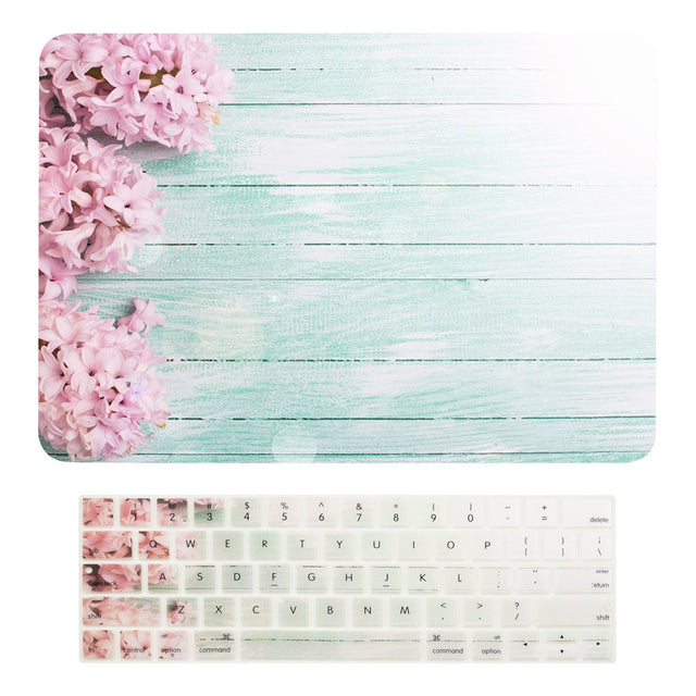 "2 in 1 Bundle, Floral Pattern Matte Hard Case + Keyboard Cover for MacBook Pro 15"" (15"" Diagonally) Model: A1707 / A1990 with Touch Bar - Pink Hyacinth"
