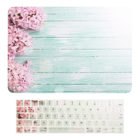 "Macbook Pro 13 WITH Touch Bar (2016 Release) 2 in 1 Bundle, Floral Pattern Matte Hard Case + Keyboard Cover for MacBook Pro 13"" (13"" Diagonally) Model: A1706 with Touch Bar - Pink Hyacinth"