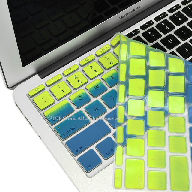 "Green & Blue Faded Ombre keyboard Cover Silicone Skin for Macbook Air 11"" - TOP CASE"