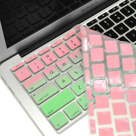 "Pink & Light Green Faded Ombre keyboard Cover Silicone Skin for Macbook Air 11"" 11-inch - TOP CASE"