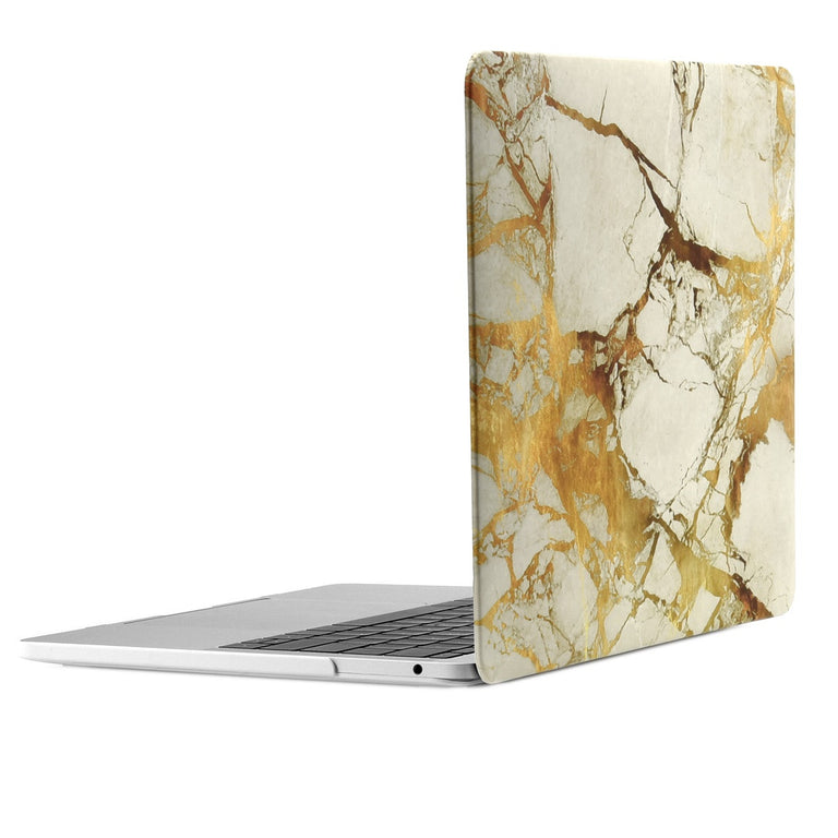 "2 in 1 Bundle, Marble Pattern Matte Hard Case + Keyboard Cover for MacBook Pro 13"" (13"" Diagonally) A1706/A1990 with Touch Bar - Marble White/Gold"