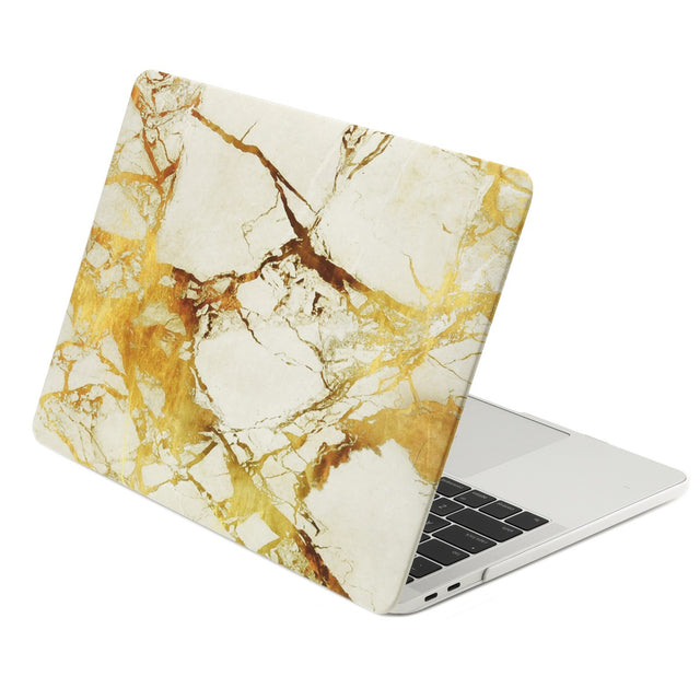 Marble Pattern Rubberized Hard Case Cover for MacBook Pro 15-inch Model A1707/A1990 with Touch Bar ( Release 2016/17/18) - Marble White/Gold