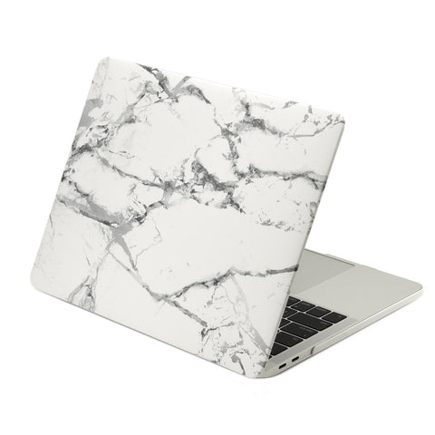 Marble Pattern Rubberized Hard Case Cover for MacBook Pro 15-inch Model A1707/A1990 with Touch Bar ( Release 2016/17/18 ) - Marble White