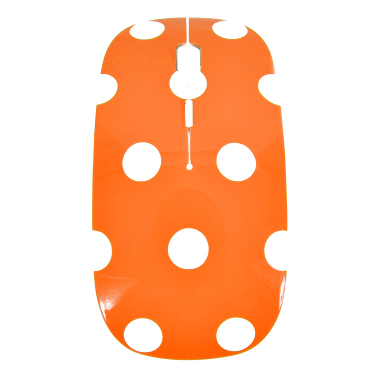 Polka Dot Design Orange USB Optical Wireless Mouse for Macbook (pro , air) and All Laptop - TOP CASE