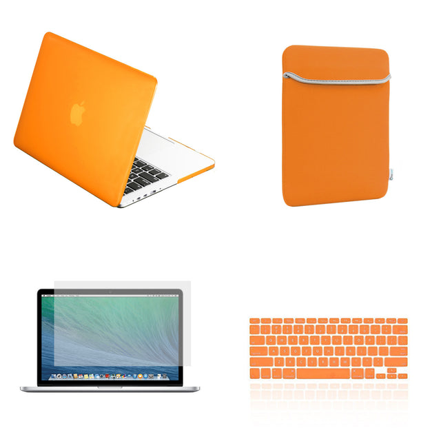 "TOP CASE 4 in 1 – Macbook Retina 15"" Rubberized Case + Sleeve + Keyboard Skin + LCD - Orange"