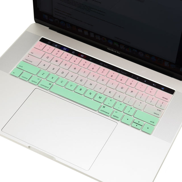 "Faded Ombre Silicone Keyboard Cover Skin for Macbook Pro 13"" 15"" WITH Touch Bar A1706 / A1707 / A1990 / A1989(2016/17/18 Release) - Pink & Light Green"