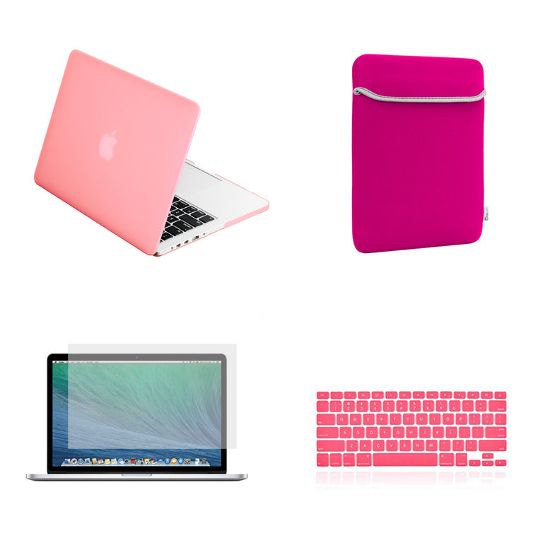 "TOP CASE 4 in 1 – Macbook Retina 15"" Rubberized Case + Sleeve + Keyboard Skin + LCD - Pink"