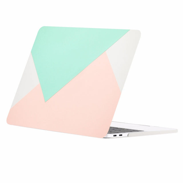Geometric Pattern Graphic Rubberized Hard Case Cover for MacBook Pro 15-inch A1707/A1990 with Touch Bar ( Release Oct 2016/17/18 ) - Rose Quartz and Turquoise