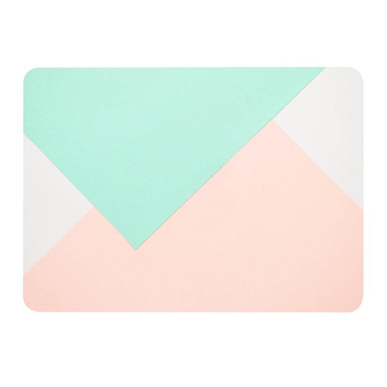 Geometric Pattern Graphic Rubberized Hard Case for MacBook Pro 13-inch A1989/A1706/A1708 with/ without Touch Bar ( Release 2016/17/18 ) - Rose Quartz and Turquoise