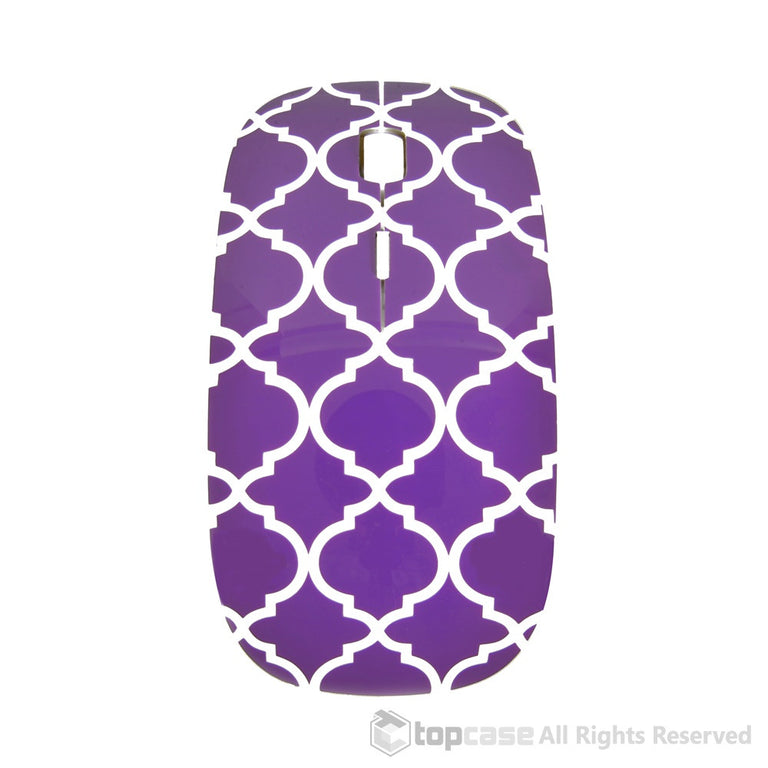 Quatrefoil / Moroccan Trellis Series Purple USB Optical Wireless Mouse for Macbook (pro , air) and All Laptop