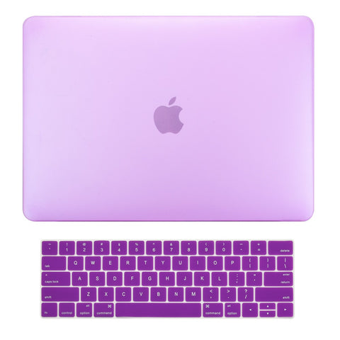 2 in 1 Bundle, Rubberized Matte Hard Case Cover + Matching Color Keyboard Cover for MacBook Pro 15-inch A1707/A1990 with Touch Bar ( Release Oct 2016/17/18 ) - Purple