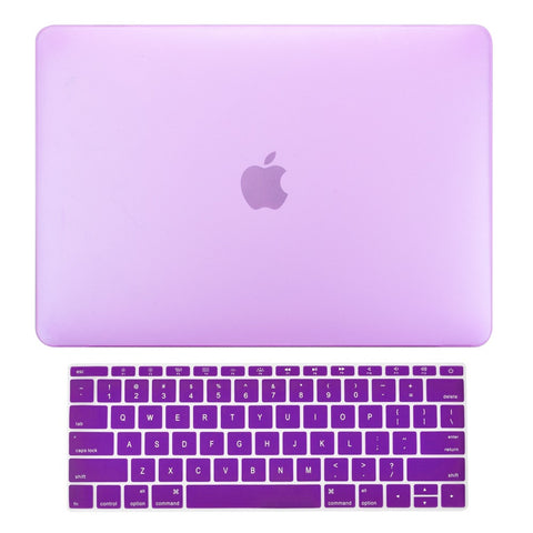 Macbook Pro 13 WITHOUT Touch Bar (2016 Release) 2 in 1 Bundle, Rubberized Matte Hard Case Cover + Matching Color Keyboard Cover for MacBook Pro 13-inch A1708 without Touch Bar - Purple