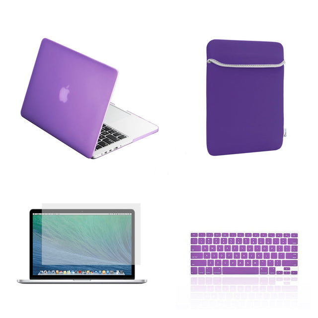 "TOP CASE 4 in 1 – Macbook Retina 15"" Rubberized Case + Sleeve + Keyboard Skin + LCD - Purple"