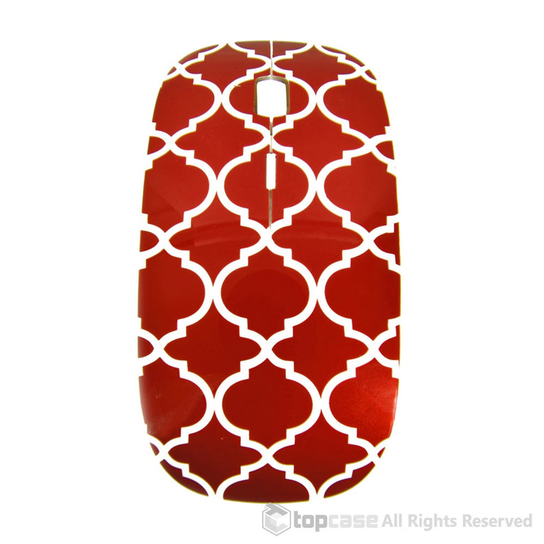 Quatrefoil / Moroccan Trellis Series Red USB Optical Wireless Mouse for Macbook (pro , air) and All Laptop
