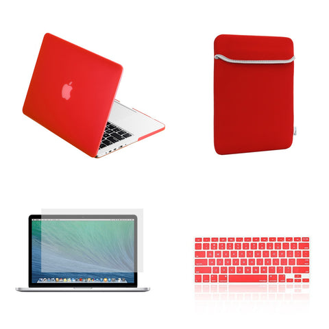 "TOP CASE 4 in 1 – Macbook Retina 13"" Rubberized Case + Sleeve + Keyboard Skin + LCD - Red"