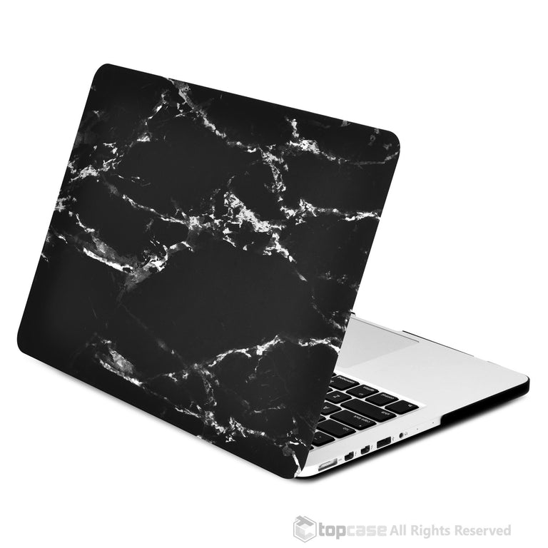 "Black Marble Rubberized Hard Case for MacBook Pro 15"" with Retina Display Model A1398 (LASTEST VERSION) - TOP CASE"