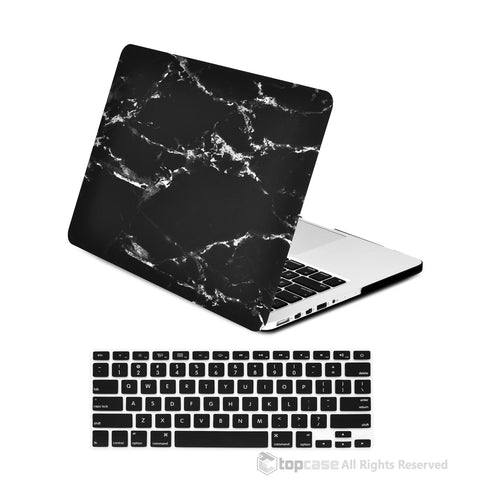 "TOP CASE - 2 in 1 MacBook Pro RETINA 13"" Marble Hard Cover + Keyboard Skin - Black"