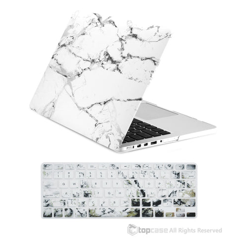 "TOP CASE - 2 in 1 MacBook Pro RETINA 13"" Marble Hard Cover + Keyboard Skin - White"