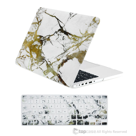 "TOP CASE - 2 in 1 MacBook Pro RETINA 13"" Marble Hard Cover + Keyboard Skin - White/Gold"