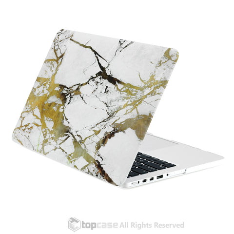 "White/Gold Marble Rubberized Hard Case for MacBook Pro 15"" with Retina Display Model A1398"