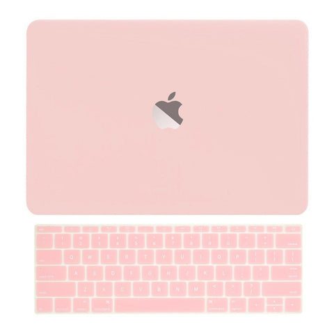 Macbook Pro 13 WITHOUT Touch Bar (2016 Release) 2 in 1 Bundle, Rubberized Matte Hard Case Cover + Matching Color Keyboard Cover for MacBook Pro 13-inch A1708 without Touch Bar - Rose Quartz