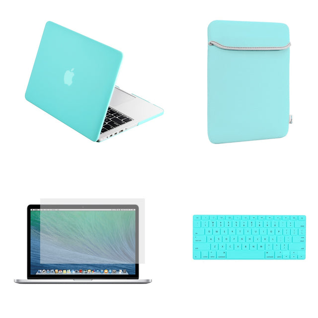 "TOP CASE 4 in 1 – Macbook Retina 15"" Rubberized Case + Sleeve + Keyboard Skin + LCD - Hot Blue"