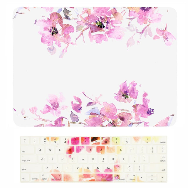 "2 in 1 Bundle Deal, Floral Reflection Pattern Rubberized Hard Case + Keyboard Cover for MacBook Pro 15"" (15"" Diagonally) WITH Touch Bar Model A1707/A1990 (2016/17/18 Release) - Purple Flowers"