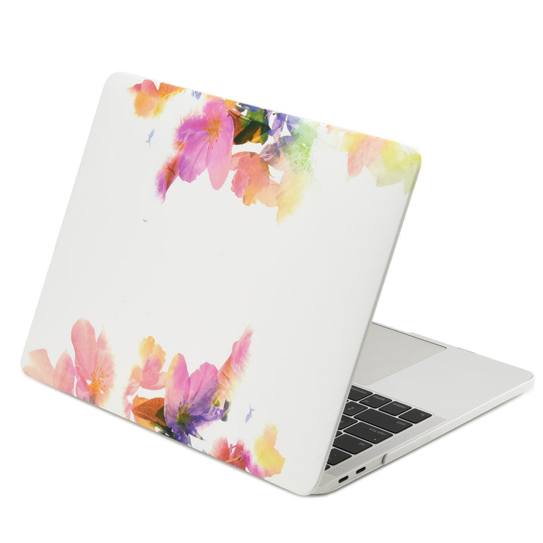"2 in 1 Bundle Deal, Floral Reflection Pattern Rubberized Hard Case + Keyboard Cover for MacBook Pro 13"" (13"" Diagonally) WITHOUT Touch Bar Model: A1708 (2016 Release) - Violet Reflection"
