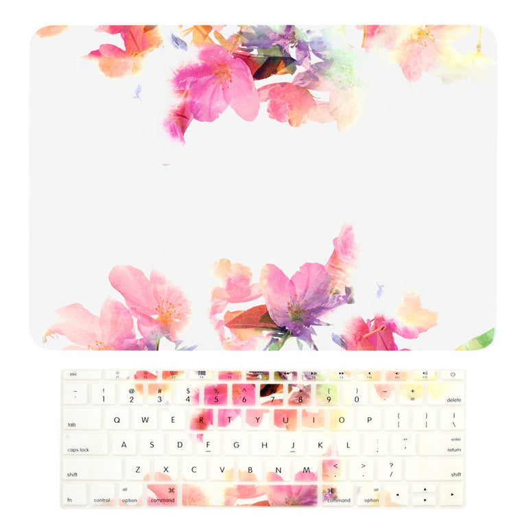 huge selection of 96a4c 9cd62 2 in 1 Bundle Deal, Floral Reflection Pattern Rubberized Hard Case +  Keyboard Cover for MacBook Pro 13