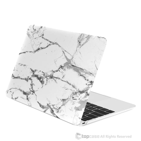 "White Marble Rubberized Hard Case for Macbook 12"" with Retina Display Model A1534"